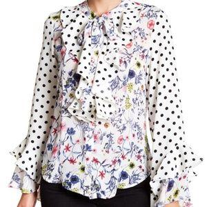 Make Offer Gracia Floral Polka Dot Ruffle Blouse